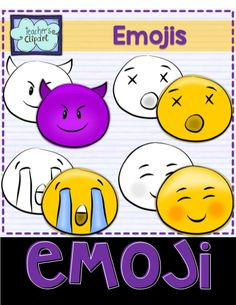 Emoji Smiley Faces Emoticons Clipart Bundle includes 24 colored and 24 line art images to represent some of the Whatsapp messenger emojis. Includes: - Blushing - Crying - Dead - Evil
