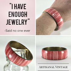 """I have enough jewelry."" ~said no one ever  This brass and pink mother of pearl inlay bangle bracelet will make a great addition to your collection!"