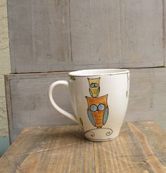 orange owl ceramic coffee mug hand painted gift by catherinereece, $22.00