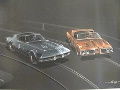 12x18 John G. Gump; original 2 race cars, prismacolor/gouache. dated 10-65