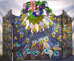Peacock Fireplace Screen Stained Glass by Dragonsweyr gifts.