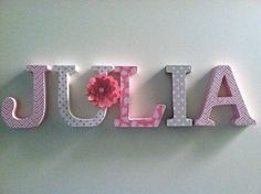 Wooden letters for nursery in pink white and by SummerOlivias, $10.00