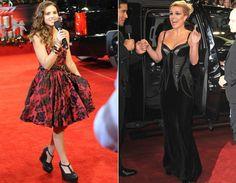 Carly Rose Sonenclar escolheu um vestido de estilo ladylike, que mistura vermelho com estampas florais pretas. Sua mentora, Britney Spears, ficou sexy com longo pretinho de corpete estruturado da grife Bottega Veneta!