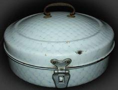 Vintage BREAD BOX Bin Enamelware round chickenwire patern Breadbox Enamel