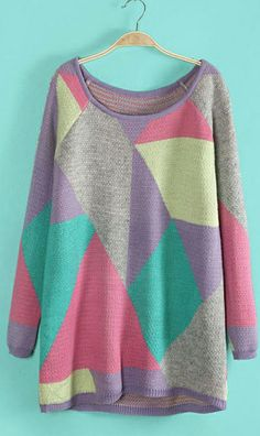 Geometric mixed color knitted loose sweater purple,just pretty one