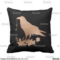 Copper Crow Black Throw Pillow