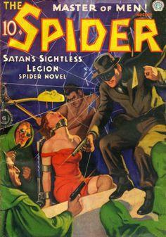 The Spider - Master of Men Pulp Fiction Magazine Cover Pulp Fiction Comics, Pulp Fiction Book, Crime Fiction, Book Cover Art, Comic Book Covers, Comic Books, Comic Art, Detective, Pulp Magazine