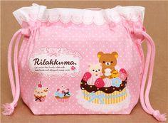 pale pink Rilakkuma bear sweets bento pouch lunch bag San-X