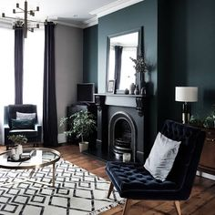 Warning These Blue Living Room Ideas Will Make You Want to Redecorate Stat Hunker Dark Living Rooms, Home Living Room, Living Room Designs, Living Room Decor, Small Living, 1930s Living Room, Interior Design Trends, Luxury Interior, Interior Decorating
