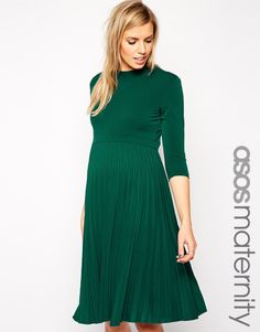 Image 1 ofASOS Maternity Skater Dress With Pleated Skirt and 3/4 Sleeve