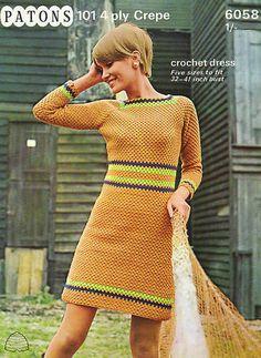 Vintage 60s MOD Madmen Dress Crochet Pattern Retro | eBay