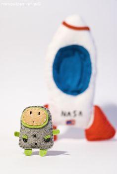 bup el Astronauta broche fieltro chapa verde gris espacio mundo cohete