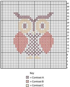 Owl Cross Stitch Dishcloth, free pattern by Lily / Sugar'n Cream