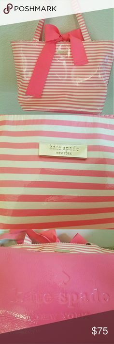 Kate spade Tote Pink and white striped Kate Spade Tote with bow tie closure. Excellent condition. kate spade Bags Totes