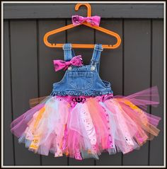 Overalls Tutu Dress - Strips of tulle and bandana on a set of overalls with a matching bandana bow headband or hair clip on Etsy, $40.95