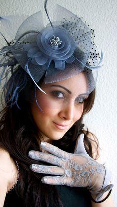Blue Gray Fascinator - Blue Gray Mesh Fascinator Hat Headband. $58.00, via Etsy.: