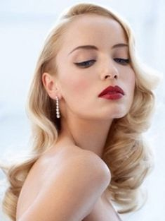 Retro glam hair, wedding makeup/hair