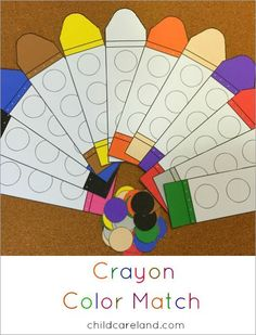 Crayon color match for color recognition and fine motor development.