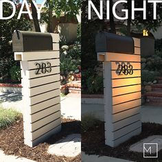 Mailbox Makeover, Diy Mailbox, Modern Mailbox, Yard Design, House Design, Mailbox Landscaping, Home Exterior Makeover, Modern Exterior, House Numbers