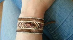 Loom beaded bracelet with waxed cord / Beaded by Suusjabeads