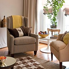 """You may not think that this picture is particularly colourful and I would agree, however; I pinned this because of the """"layers"""" and patterns!  The smaller area rug is an enlarged pattern of the existing chair and the combination of solids and prints is really well done here.  BHG (Seasonal Decorating)"""