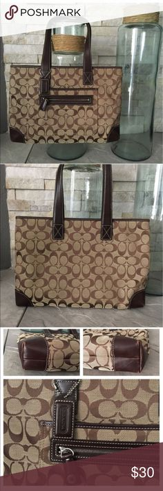Coach purse/tote Authentic purchased here on Posh used twice and ready to pass it on size 14-19 inches Coach Bags