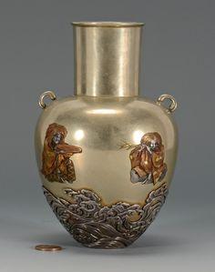Japanese Mixed Metal Vase, Meiji period