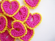 Crochet Heart Appliques Pinky Pink & Dirty Yellow