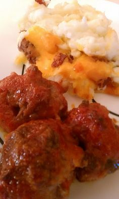 My tried and true favorite Ham Balls and Loaded Mashed potatoes