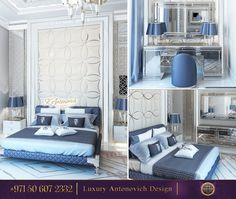 """Be inspired by this luxurious bedroom! The color blue is a relatively modern invention!✨ We call it """"Royal Blue"""" Would you like to have such an elegant bedroom at your home?"""