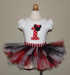 Cute Minnie Mouse Birthday Tutu Set Numbers 19 by SillyFrillyGirls