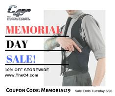 Save storewide until Tuesday! Concealed Carry Clothing, Clothing Company, Memorial Day, Carry On, Tuesday, Memories, Memoirs, Souvenirs, Hand Luggage