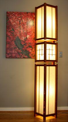 Shoji floor lamps japanese floor lamps wood paper lanterns japanese inspired floor lamp mozeypictures Images