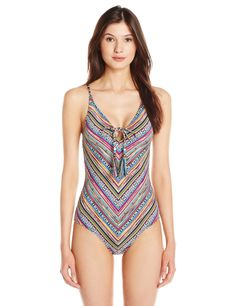 d45741f7f8 Lucky Brand Women's Arabian Night One Piece Swimsuit with Removable Cups,  Multi, Medium.