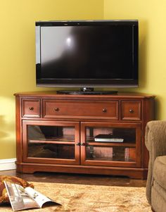 Beautiful solid wood tv stand and sound bar console for Corner lots more valuable