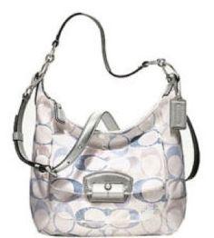 b4b2efb139aa Coach Kristin Embellished Signature Sequins Hobo Handbag 19340 (Blue Multi)  Coach