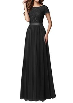 DYS Women's Lace Bridesmaid Dress Sleeves Tulle Prom Even...