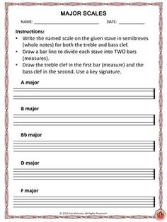 Major Scales: Explanation and Worksheets | Major Scale, Worksheets ...
