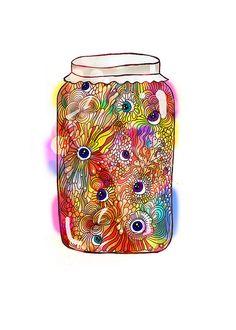 Tarro de vidrio con ojos, obra de Sobiratelniza Rakushek