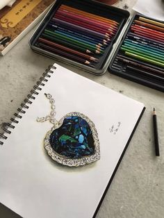 Titanic the heart of the ocean by Wang Bo (Singapore) Titanic Tattoo, Titanic Art, Rms Titanic, Ocean Drawing, Crystal Drawing, Lotus Flower Art, Necklace Drawing, Ariana Grande Drawings, Jewelry Design Drawing