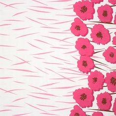 Magenta Pink Poppy Floral Border Print Cotton Jersey Blend Knit Fabric - A sweet poppy floral border print design in magenta pink and deep burgundy on a white cotton jersey blend knit.  Fabric is has a soft hand, and is light weight with a small stretch. Border prints have the border down the length of both sides of the fabric with the remainder of the print across the remaining width (as pictured).  Biggest poppy flower measures 7.5cm.  ::  £9.95