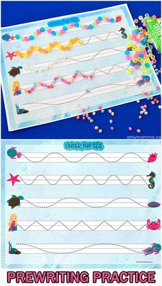Printable Ocean Themed Prewriting Activities for Preschoolers