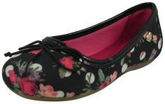 Pampili Girl's Black Canvas Floral Polka Dot Ballet Flat Shoe Pink/White