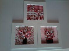 Trio de quadros em MDF com aplicacao de flores em fuxico. Delicado e charmoso, os quadrinhos apresentam 3 variacoes das flores, cerca, arvore e vaso. As flores possuem acabamento com micro flor de cetim e cristal svarovski. Um mimo para decorar o quarto da bebe. Opcoes de cores, consulte. R$ 120,00