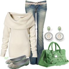 Pretty greens and cream for fall and winter.  I'd have to change the color of the sweater, though.