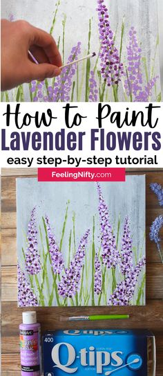 Painting Flowers Tutorial, Easy Flower Painting, Acrylic Painting Flowers, Canvas Painting Tutorials, Easy Canvas Painting, Diy Canvas Art, Painting Lessons, Flower Art, How To Paint Flowers