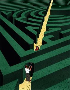The shortest distance between two points is a straight line by Guy Billout