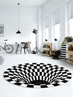 I found this amazing 3D Round Carpet Checkered Vortexs Optical Illusions Non Slip Area Rug Durbale Anti-Slip Floor Mat Non-Woven Black White Doormat For Living Dinning Room Bedroom Kitchen with AU$10.99,and 14 days return or refund guarantee protect to us. --Newchic Coffee Table Rug, Home Carpet, Room Accessories, Garden Accessories, Optical Illusions, Floor Mats, Area Rugs, Flooring, Black And White