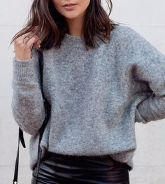 gray crewneck sweater and leather pencil skirt