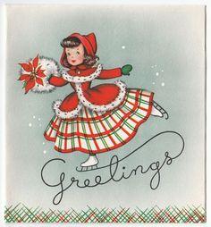 Vintage Greeting Card Christmas Girl Holiday Ice Skating Skater e650